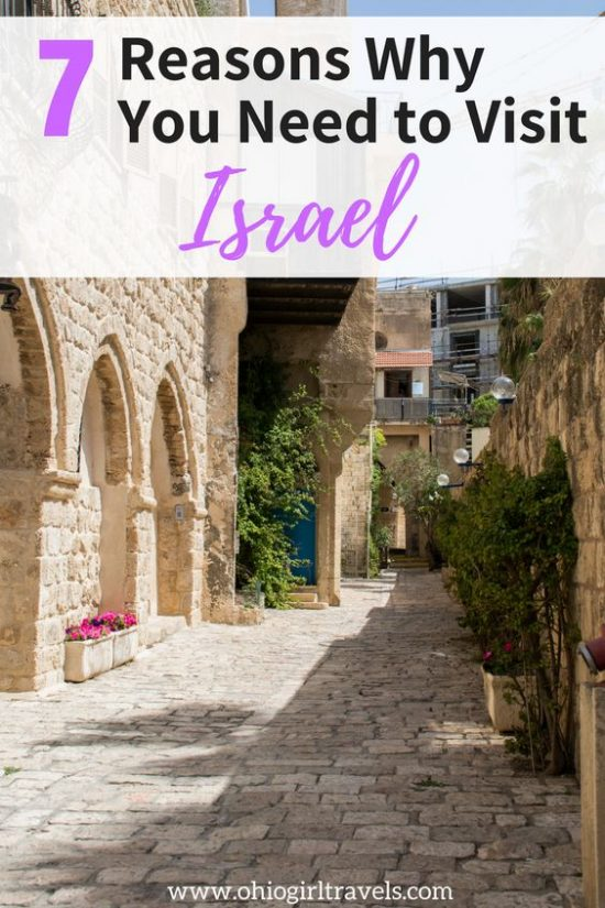 Israel is full of good food, rich culture, and beautiful landscapes everywhere you look. There are plenty of reasons to visit the beautiful country of Israel, but click through to read what our top 7 reasons to visit Israel are. Don't forget to save this to your Israel travel or travel inspiration board! #israel #travelinspiration #Israeltravel