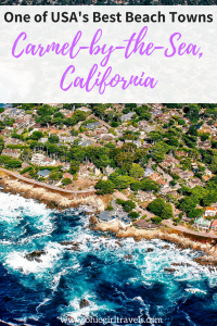 If you're looking for a little piece of Europe in the US, look no further! Carmel-by-the-sea has been voted one of America's Best Beach Towns, and we certainly agree! It's a lovely day trip from Monterey, California and had us craving more. European charm and a beach in one town, need I say more? You'll definitely want to save this pin to your travel board. #monterey #california