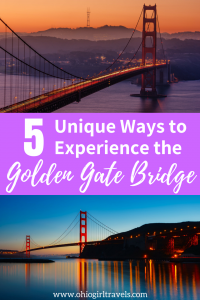 The Golden Gate Bridge is an iconic landmark and is the 9th longest suspension bridge in the world! We were in total awe and found 5 unique ways to see the Golden Gate Bridge from every angle. Number 3 is absolutely incredible! You'll definitely want to save this pin to your travel board. #goldengatebridge #california