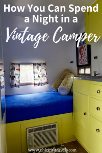 Are you looking for a unique place to stay on your next road trip or camping trip? Check out this adorable Vintage Camper that will make you the envy of the whole campground. Come see how you can sleep in a vintage camper and save it to your travel board so you can find it later. #vintage #camper #vintagecamper