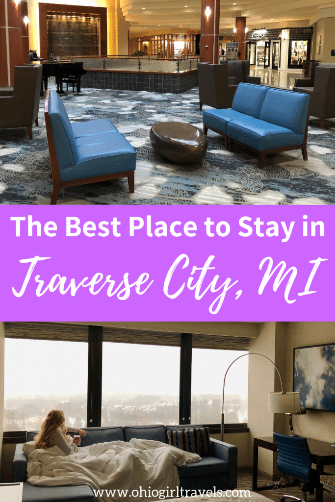 Are you looking for a nice hotel in Traverse City, Michigan? I have the perfect resort in Traverse City that has all of the modern amenities and some amazing views! Come see why we love staying at the Grand Traverse Resort and Spa so much so you can stay there too. Don't forget to save this to your Michigan board so you can find it later.