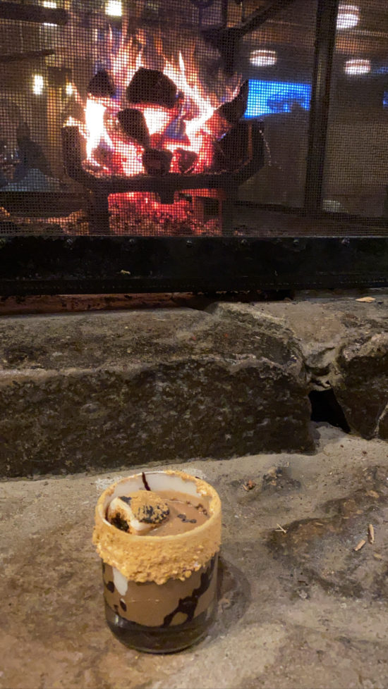 Fireside drinks at Seven Springs