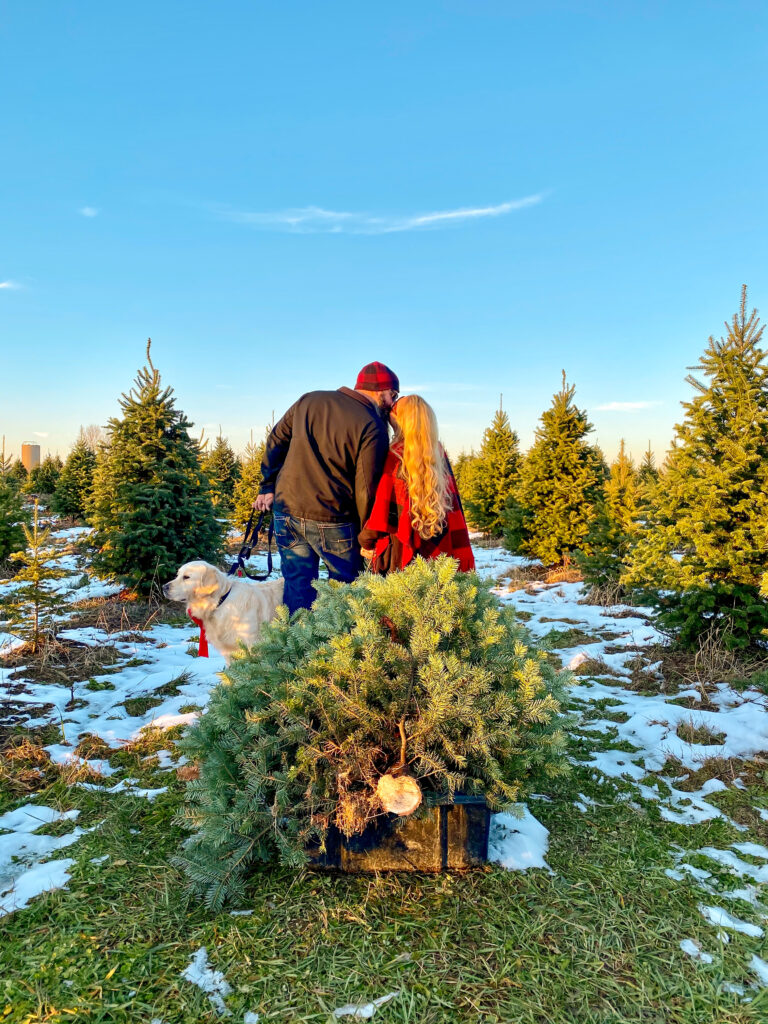 couple at a Christmas Tree Farm